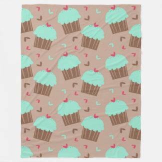 Green Mint Cupcake Fleece Blanket