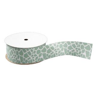 Green Mint Giraffe Print Grosgrain Ribbon