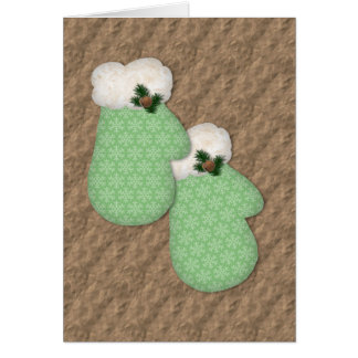 Green Mittens Low Vision Christmas Card