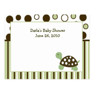 Green Mod Dot Turtle Baby Shower Advice Cards