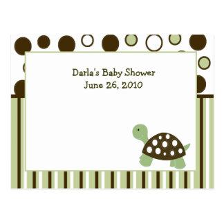 Green Mod Dot Turtle Baby Shower Advice Cards Postcard