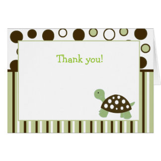 Green Mod Dot Turtle Folded Thank you note Card