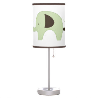 Green Mod Elephant White with Dark Brown Trim Table Lamp