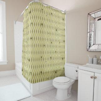 Green Mod Hourglass & Sputniks Shower Curtain