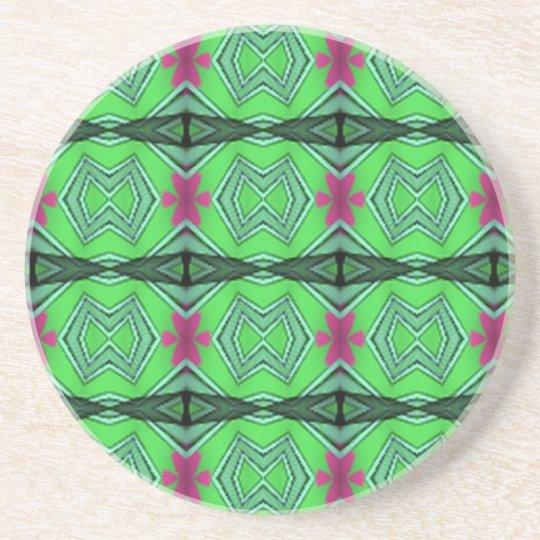 Green modern art coaster