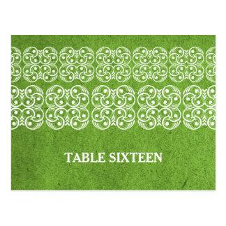 Green Modern Bohemian Table Number Postcard