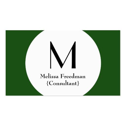 Green Modern Circle Custom Monogram Business Cards