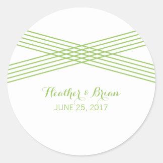 Green Modern Deco Wedding Stickers Round Sticker