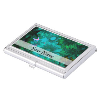 Green modern floral business card holder