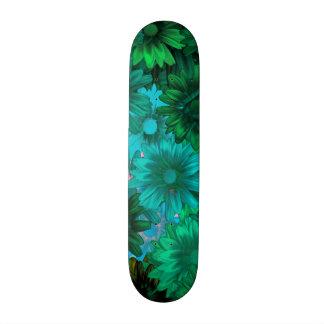 Green modern floral skate board deck