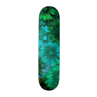 Green modern floral skateboard decks