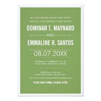 Green Modern Minimalist Wedding Invitation