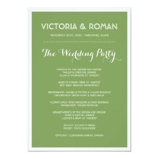 "Green Modern Minimalist Wedding Programs 5"" X 7"" Invitation Card"