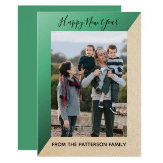 Green Modern Slant New Year's Photo Flat Card
