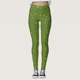 Green Modern Sparkles and Dots Pattern Leggings