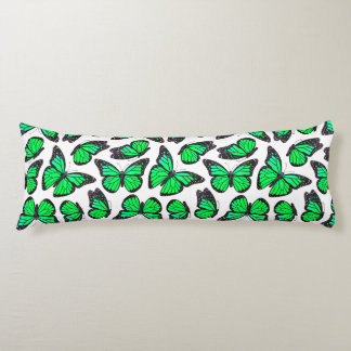 Green Monarch Butterfly Pattern Body Pillow