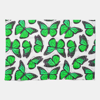 Green Monarch Butterfly Pattern Hand Towel