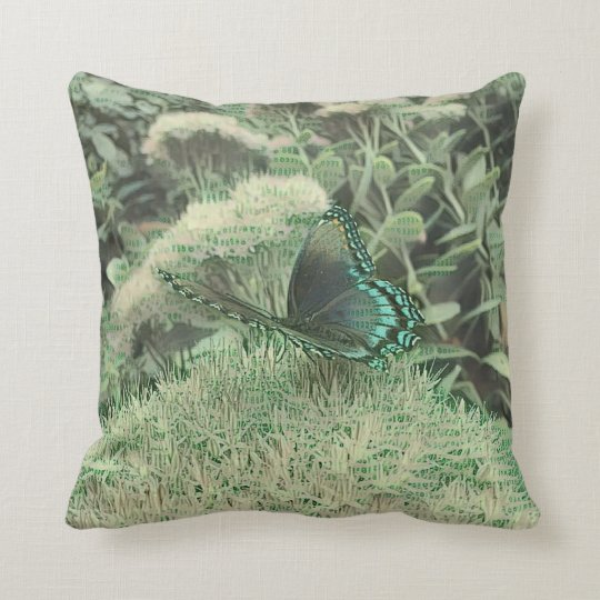 Green Monochromatic Flowers With Monarch Butterfly Throw Pillow