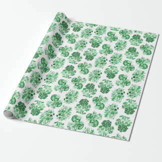 Green Monochrome Flowers Wrapping Paper