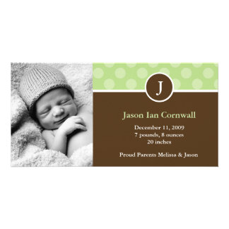 Green Monogram Birth Announcements Picture Card