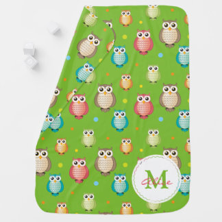Green Monogram Cute Wise Owls Pattern Baby Blanket