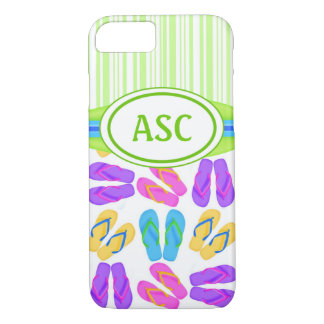 Green Monogram Flip Flops iPhone 7 Case