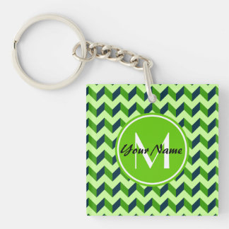 Green Monogram Green Chevron Patchwork Pattern Double-Sided Square Acrylic Keychain