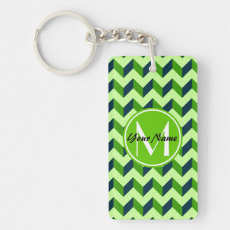 Green Monogram Green Chevron Patchwork Pattern Double-Sided Rectangular Acrylic Keychain