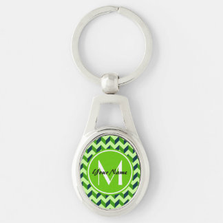 Green Monogram Green Chevron Patchwork Pattern Silver-Colored Oval Keychain