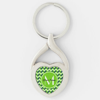 Green Monogram Green Chevron Patchwork Pattern Silver-Colored Twisted Heart Keychain