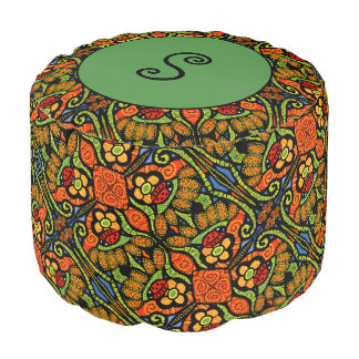Green Monogram Ladybug Pattern Polka Dots Flowers Pouf