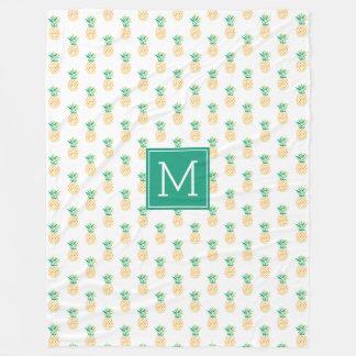 Green Monogram Pineapples Pattern Fleece Blanket