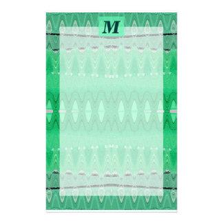 green monogram custom stationery