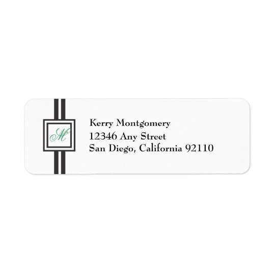 Green Monogram Striped Return Address Label