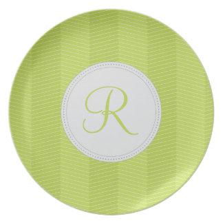 Green Monogram Thin Chevron Pattern Plate