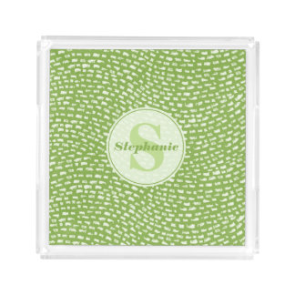 Green Monogram Wave Dashes pattern Acrylic Tray