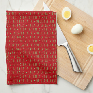 Green Monogramm White Reindeer and Red Kitchen Towels