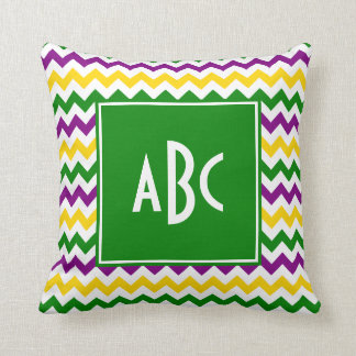 Green Monogrammed Mardi Gras Zigzag Throw Pillow