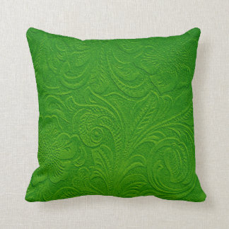 Green Monotones Floral Swede Leather Look Throw Pillow