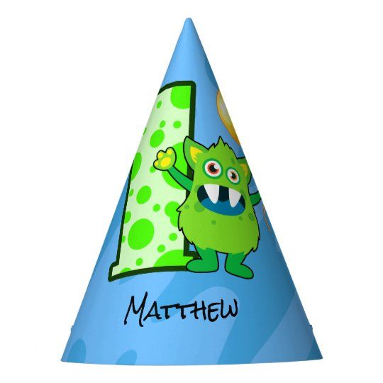 Green Monster 1st Birthday Party Hat