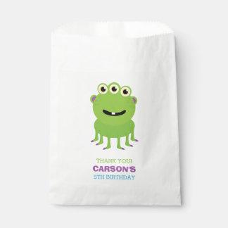 Green Monster Birthday Party Favor Bag