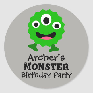 Green Monster Birthday Party Stickers
