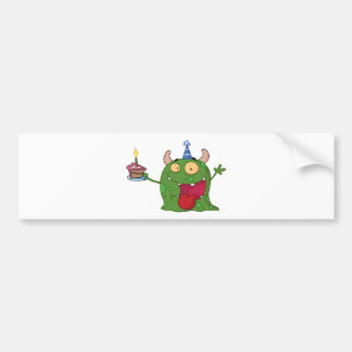 Green Monster Celebrates Birthday With Cake Bumper Sticker