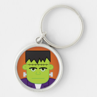 Green monster Silver-Colored round keychain