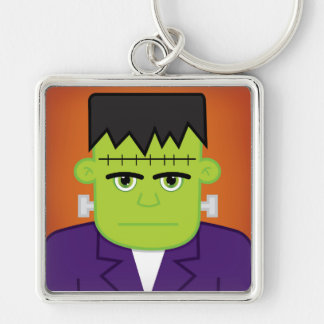 Green monster Silver-Colored square keychain