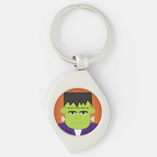 Green monster Silver-Colored swirl keychain