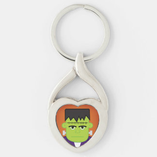 Green monster Silver-Colored twisted heart keychain
