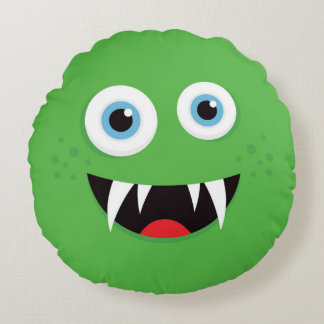 Green monster throw pillow for kids - round