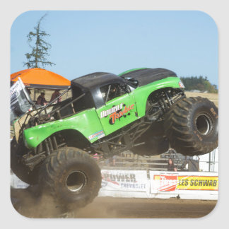 Green Monster Truck In Action Square Sticker