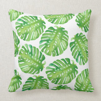 Green Monstera Jungle Leaf Pillow